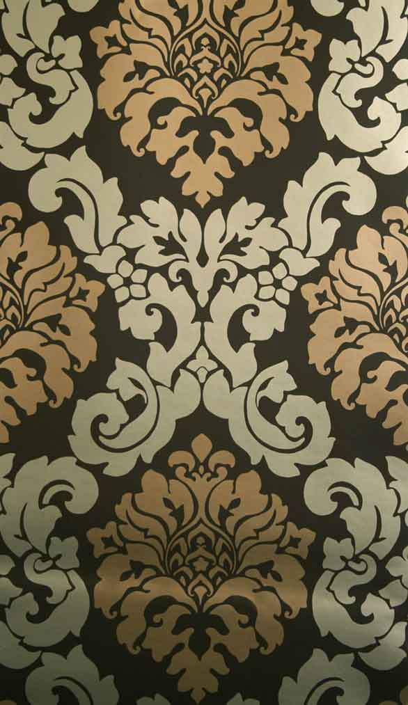 Damast tapeten barock ornamente radnor folia von osborne and little online kaufen - Tapete schwarz gold ...
